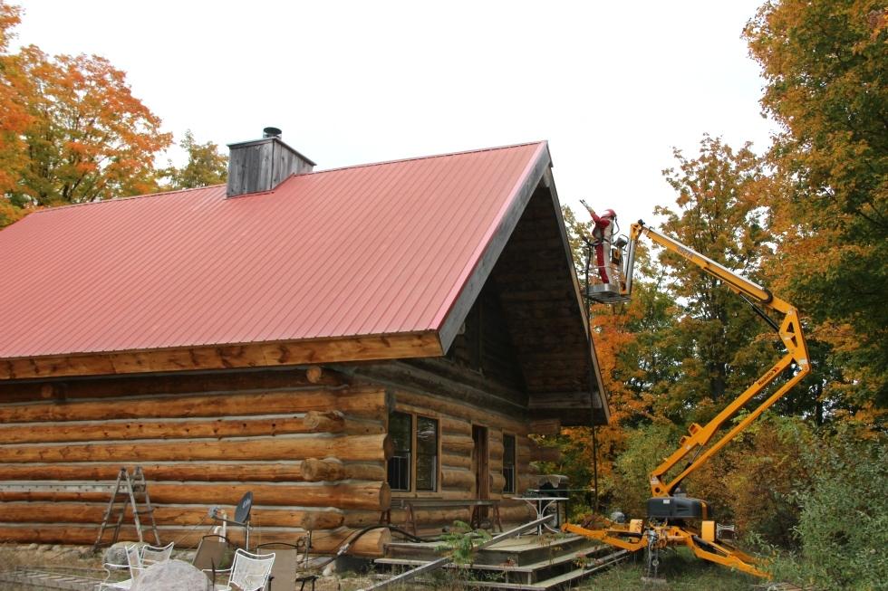 Log Cabin Restoration   Log Cabin Media Blasting by the LogDocotors. Log Home Restoration